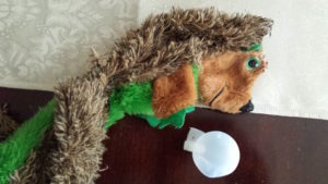 Peyton's successful squeakectomy on her favourite toy.